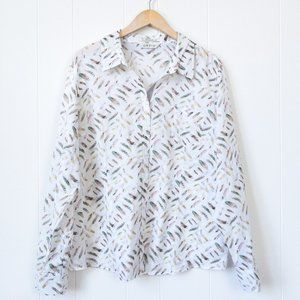 Orvis Feather Print Button Down, Size 20